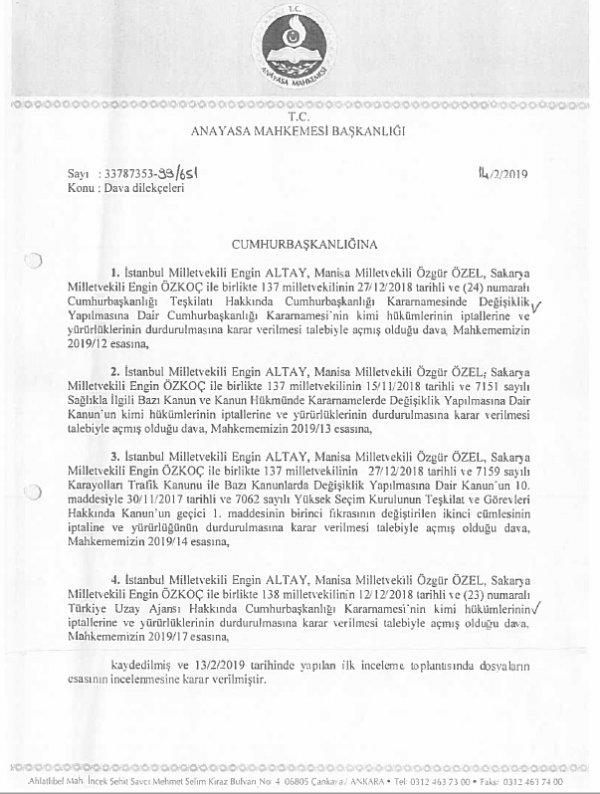 CHP Uzay ajansının iptali için Anayasa Mahkemesi'ne başvurdu
