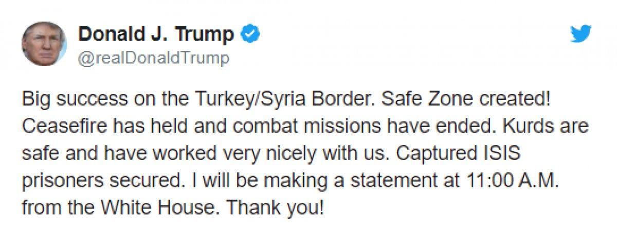 Trump: Kürtler güvende ve bizimle iyi çalıştılar
